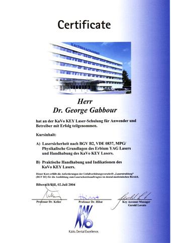 Teilnahmezertifikat der KaVo Key Laser-Schulung für Anwender und Betreiber in Biberach 2004
