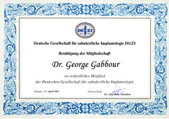 Ordentliches Mitglied der deutschen Gesellschaft für zahnärztliche Implantologie DGZI seit 2002