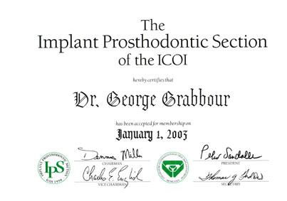 Teilnahmezertifikat der Prosthodontic Section der ICOI 2003