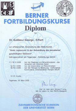 Diplom der Universität Bern zur Absolvierung des Modulkurses Orale Implantate