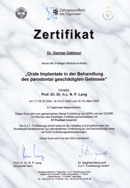 Teilnahmezertifikat am Modulkurs für orale Implantate (EDA) 2005
